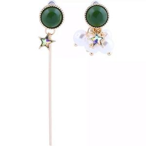 Betsey Johnson Green and Gold Pearl Earrings